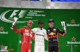The Podium : Second Place Sebastian Vettel (Scuderia Ferrari), Race Winner Lewis Hamilton (Mercedes AMG F1 Team) and Third Place Max Verstappen (Red Bull Racing)