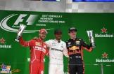 The Podium : Second Place Sebastian Vettel (Scuderia Ferrari), Race Winner Lewis Hamilton (Mercedes AMG F1 Team) and Third Place Max Verstappen (Red Bull Racing)