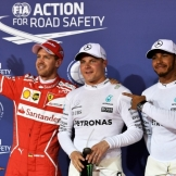 The Top Three Qualifiers : Third Place Sebastian Vettel (Scuderia Ferrari), Pole Position Valtteri Bottas (Mercedes AMG F1 Team) and Second Place Lewis Hamilton (Mercedes AMG F1 Team)