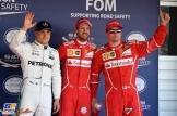 The Top Three Qualifiers : Third Place Valtteri Bottas (Mercedes AMG F1 Team), Pole Position Sebastian Vettel (Scuderia Ferrari) and Second Place Kimi Räikkönen (Scuderia Ferrari)