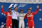 The Podium : Second Place Sebastian Vettel (Scuderia Ferrari), Race Winner Valtteri Bottas (Mercedes AMG F1 Team) and Third Place Kimi Räikkönen (Scuderia Ferrari)