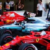 Sebastian Vettel (Scuderia Ferrari, SF70-H), Valtteri Bottas (Mercedes AMG F1 Team, F1 W08 Hybrid) and Kimi Räikkönen (Scuderia Ferrari, SF70-H)