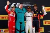 The Podium : Second Place Sebastian Vettel (Scuderia Ferrari, SF70-H), Race Winner Lewis Hamilton (Merdedes AMG F1 Team) and Third Place Daniel Ricciardo (Red Bull Racing)