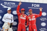 The Top Three Qualifiers : Third Place Valtteri Bottas (Mercedes AMG F1 Team), Pole Position Kimi Räikkönen (Scuderia Ferrari) and Sebastian Vettel (Scuderia Ferrari)