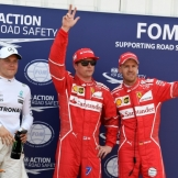 The Top Three Qualifiers : Third Place Valtteri Bottas (Mercedes AMG F1 Team), Pole Position Kimi Räikkönen (Scuderia Ferrari) and Sebastian Vettel (Scuderia Ferrari)