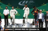 The Podium : Second Place Valtteri Bottas (Mercedes AMG F1 Team), Race Winner Lewis Hamilton (Mercedes AMG F1 Team) and Third Place Daniel Ricciardo (Red Bull Racing)