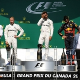 The Podium : Second Place Valtteri Bottas (Mercedes AMG F1 Team), Race Winner Lewis Hamilton (Mercedes AMG F1 Team) and Third Place Daniel Ricciardo (Red Bull Racing)