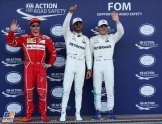 The Top Three Qualifiers : Third Place Kimi Raikkonen (Scuderia Ferrari), Pole Position Lewis Hamilton (Mercedes AMG F1 Team) and Third Place Valtteri Bottas (Mercedes AMG F1 Team)