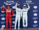 The Top Three Qualifiers : Third Place Kimi Raikkonen (Scuderia Ferrari), Pole Position Lewis Hamilton (Mercedes AMG F1 Team) and Third Place Valtteri Bottas (Mercedes AMG F1 Team)