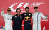 The Podium : Second Place Valtteri Bottas (Mercedes AMG F1 Team), Race Winner Daniel Ricciardo (Red Bull Racing) and Third Place Lance Stroll (Williams F1 Team)