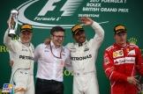 The Podium : Second Place Valtteri Bottas (Mercedes AMG F1 Team), Race Winner Lewis Hamilton (Mercedes AMG F1 Team) and Third Place Kimi Räikkönen (Scuderia Ferrari)