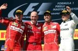 The Podium : Second Place Kimi Räikkönen (Scuderia Ferrari), Race Winner Sebastian Vettel (Scuderia Ferrari) and Third Place Valtteri Bottas (Mercedes AMG F1 Team)