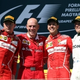 The Podium : Second Place Kimi Räikkönen (Scuderia Ferrari), Race Winner Sebastian Vettel (Scuderia Ferrari) and Third Place Valtteri Bottas (Mercedes AMG F1 Team)