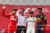 The Podium : Second Place Sebastian Vettel (Scuderia Ferrari), Race Winner Valtteri Bottas (Mercedes AMG F1 Team) and Third Place Daniel Ricciardo (Red Bull Racing)