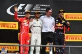 The Podium : Second Place Sebastian Vettel (Scuderia Ferrari), Race Winner Lewis Hamilton (Mercedes AMG F1 Team) and Third Place Daniel Ricciardo (Red Bull Racing, RB13)