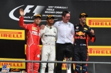 The Podium : Second Place Sebastian Vettel (Scuderia Ferrari), Race Winner Lewis Hamilton (Mercedes AMG F1 Team) and Third Place Daniel Ricciardo (Red Bull Racing, RB13)