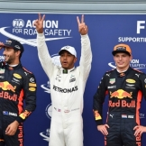 The Top Three Qualifiers : Third Place Daniel Ricciardo (Red Bull Racing), Pole Position Lewis Hamiltonn (Mercedes AMG F1 Team) and Second Place Max Verstappen (Red Bull Racing)