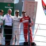 The Podium : Third Place Valtteri Bottas (Mercedes AMG F1 Team), Race Winner Lewis Hamilton (Mercedes AMG F1 Team) and Third Place Sebastian Vettel (Scuderia Ferrari)