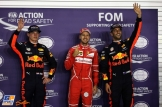 The Top Three Qualifiers : Second Place Max Verstappen (Red Bull Racing), Pole Position Sebastian Vettel (Scuderia Ferrari) and Third Place Daniel Ricciardo (Red Bull Racing)