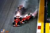 Sebastian Vettel (Scuderia Ferrari, SF70-H), Kimi Räikkönen (Scuderia Ferrari, SF70-H) and Max Verstappen (Red Bull Racing, RB13)