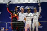 The Podium : Second Place Daniel Ricciardo (Red Bull Racing), Race Winner Lewis Hamilton (Mercedes AMG F1 Team) and Third Place Valtteri Bottas (Mercedes AMG F1 Team)