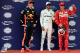 The Top Three Qualifiers : Third Place Max Verstappen (Red Bull Racing), Pole Position Lewis Hamilton (Mercedes AMG F1 Team) and Second Place Kimi Räikkönen (Scuderia Ferrari)