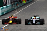 Max Verstappen (Red Bull Racing, RB13) and Lewis Hamilton (Mercedes AMG F1 Team, F1 W08 Hybrid)