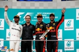 The Podium : Second Place Lewis Hamilton (Mercedes AMG F1 Team), Race Winner Max Verstappen (Red Bull Racing) and Third Place Daniel Ricciardo (Red Bull Racing)