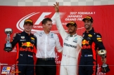 The Podium : Second Place Max Verstappen (Red Bull Racing), Race Winner Lewis Hamilton (Mercedes AMG F1 Team) and Third Place Daniel Ricciardo (Red Bull Racing)