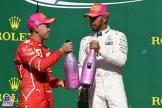 The Podium : Second Place Sebastian Vettel (Scuderia Ferrari) and Race Winner Lewis Hamilton (Mercedes AMG F1 Team)