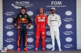 The Top Three Qualifiers : Second Place Max Verstappen (Red Bull Racing), Pole Position Sebastian Vettel (Scuderia Ferrari) and Third Place Lewis Hamilton (Mercedes AMG F1 Team)