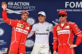 The Top Three Qualifiers : Second Place Sebastian Vettel (Scuderia Ferrari), Pole Position Valtteri Bottas (Mercedes AMG F1 Team) and Third Place Kimi Räikkönen (Scuderia Ferrari)