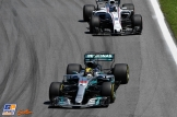 Lewis Hamilton (Mercedes AMG F1 Team, F1 W08 Hybrid) and Lance Stroll (Williams F1 Team, FW40)