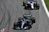 Lewis Hamilton (Mercedes AMG F1 Team, F1 W08 Hybrid) and Lance Stroll (Williams F1 Team, FW40)