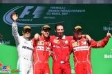 The Podium : Second Place Valtteri Bottas (Mercedes AMG F1 Team), Race Winner Sebastian Vettel (Scuderia Ferrari) and Third Place Kimi Räikkönen (Scuderia Ferrari)