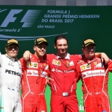 The Podium : Second Place Valtteri Bottas (Mercedes AMG F1 Team), Race Winner Sebastian Vettel (Scuderia Ferrari) and Third Place Kimi Räikkönen (Scuderia Ferrari)