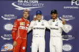 The Top Three Qualifiers : Third Place Sebastian Vettel (Scuderia Ferrari), Pole Position Valtteri Bottas (Mercedes AMG F1 Team) and Second Place Lewis Hamilton (Mercedes AMG F1 Team)