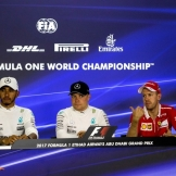 The Winners Press Conference : Second Place Lewis Hamilton (Mercedes AMG F1 Team), Race Winner Valtteri Bottas (Mercedes AMG F1 Team) and Third Place Sebastian Vettel (Scuderia Ferrari)