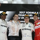 The Podium : Second Place Lewis Hamilton (Mercedes AMG F1 Team), Race Winner Valtteri Bottas (Mercedes AMG F1 Team) and Third Place Sebastian Vettel (Scuderia Ferrari)