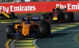 Fernando Alonso (McLaren Renault, MCL33) and Max Verstappen (Red Bull Racing, RB14)
