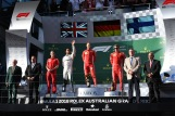The Podium : Second Place Lewis Hamilton (Mercedes AMG F1 Team), Race Winner Sebastian Vettel (Scuderia Ferrari) and Third Place Kimi Räikkönen (Scuderia Ferrari)