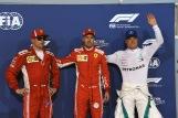 The Top Three Qualifiers : Second Place Kimi Räikkönen (Scuderia Ferrari), Pole Position Sebastian Vettel (Scuderia Ferrari) and Third Place Valtteri Bottas (Mercedes AMG F1 Team)