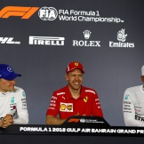 Top Three Interview : Second Place Valtteri Bottas (Mercedes AMG F1 Team), Race Winner Sebastian Vettel and Third Place Lewis Hamilton (Mercedes AMG F1 Team)