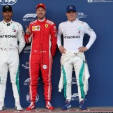 The Top Three Qualifiers : Second Place Lewis Hamilton (Mercedes AMG F1 Team), Pole Position Sebastian Vettel (Scuderia Ferrari) and Third Place Valtteri Bottas (Mercedes AMG F1 Team)