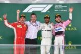 The Podium : Second Place Kimi Räikkönen (Scuderia Ferrari), Race Winner Lewis Hamilton (Mercedes AMG F1 Team) and Sergio Pérez (Force India F1 Team)