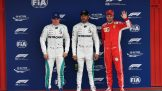 The Top Three Qualifiers : Second Place Valtteri Bottas (Mercedes AMG F1 Team), Pole Position Lewis Hamilton (Mercedes AMG F1 Team) and Third Place Sebastian Vettel (Scuderia Ferrari)