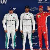 The Top Three Qualifiers : Second Place Valtteri Bottas (Mercedes AMG F1 Team), Pole Position Lewis Hamilton (Mercedes AMG F1 Team) and Third Place Sebastian Vettel (Scuderia Ferrari)