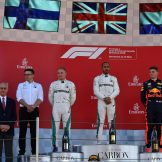 The Podium : Second Place Valtteri Bottas (Mercedes AMG F1 Team), Race Winner Lewis Hamilton (Mercedes AMG F1 Team) and Third Place Max Verstappen (Red Bull Racing)