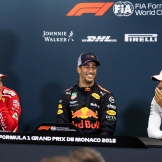 The Interview with the Top Three : Second Place Sebastian Vettel (Scuderia Ferrari), Race Winner Daniel Ricciardo (Red Bull Racing) and Third Place Lewis Hamilton (Mercedes AMG F1 Team)