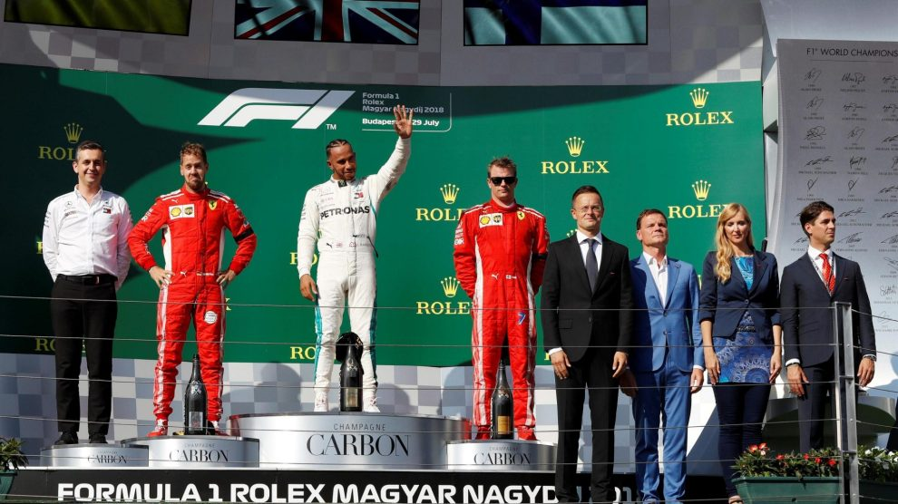 The Podium : Third Place Kimi Räikkönen (Scuderia Ferrari), Race Winner Lews Hamilton (Merceds AMG F1 Team) and Second Place Sebastian Vettel (Scuderia Ferrari)